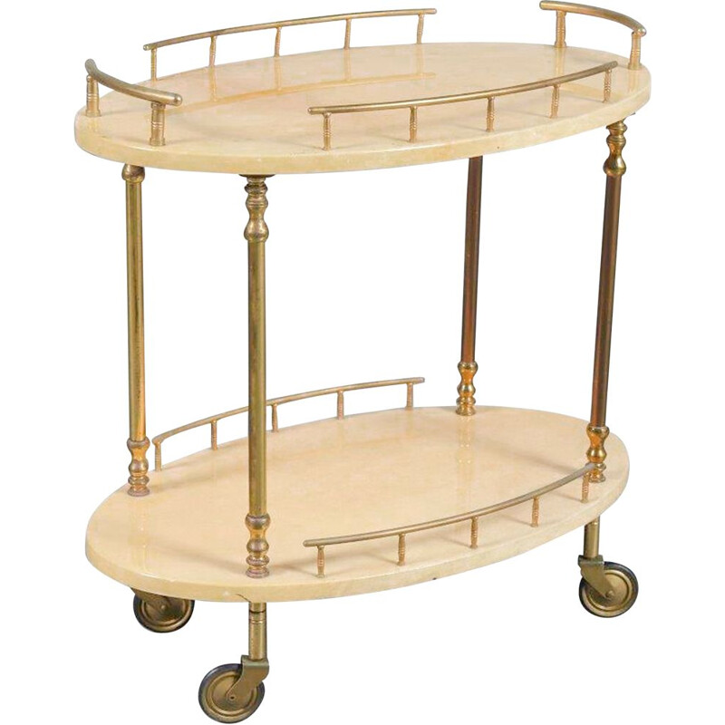 Vintage bar cart by Aldo Tura, Italy 1950s
