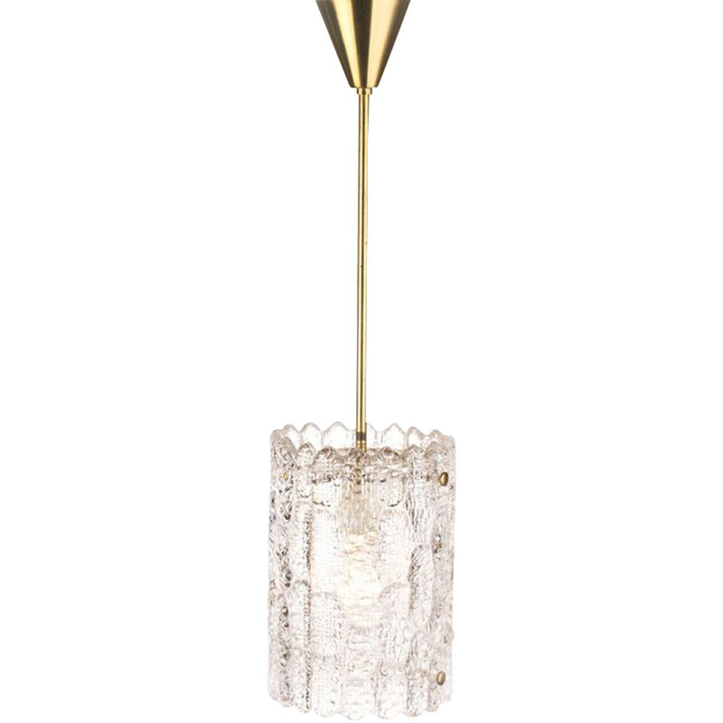 Vintage glass and brass pendant light by Carl Fagerlund for Lyfa Orrefors