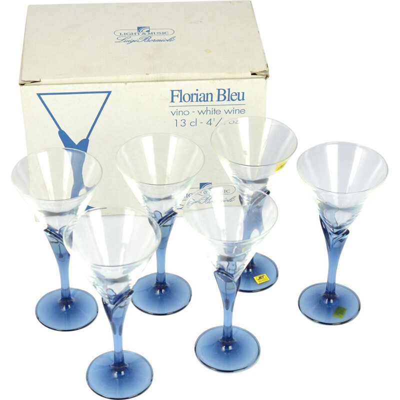 Set of 6 vintage crystal glasses Florian Blue for Light & Music by Luigi Bormioli, Italy of the 1980s