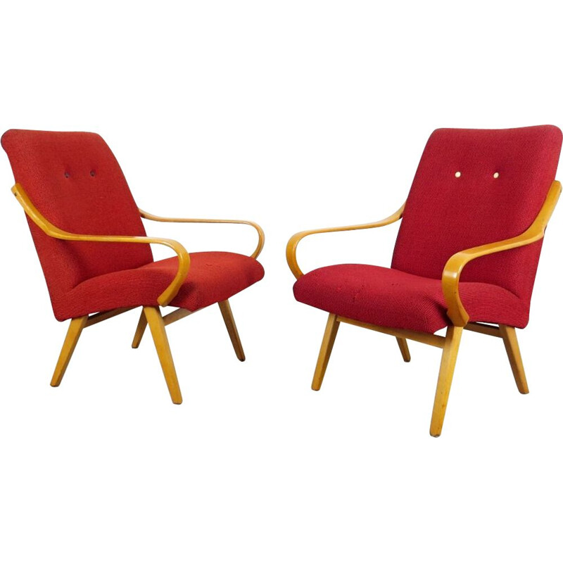Vintage pair of red Armchairs, Czechoslovakia, 1960