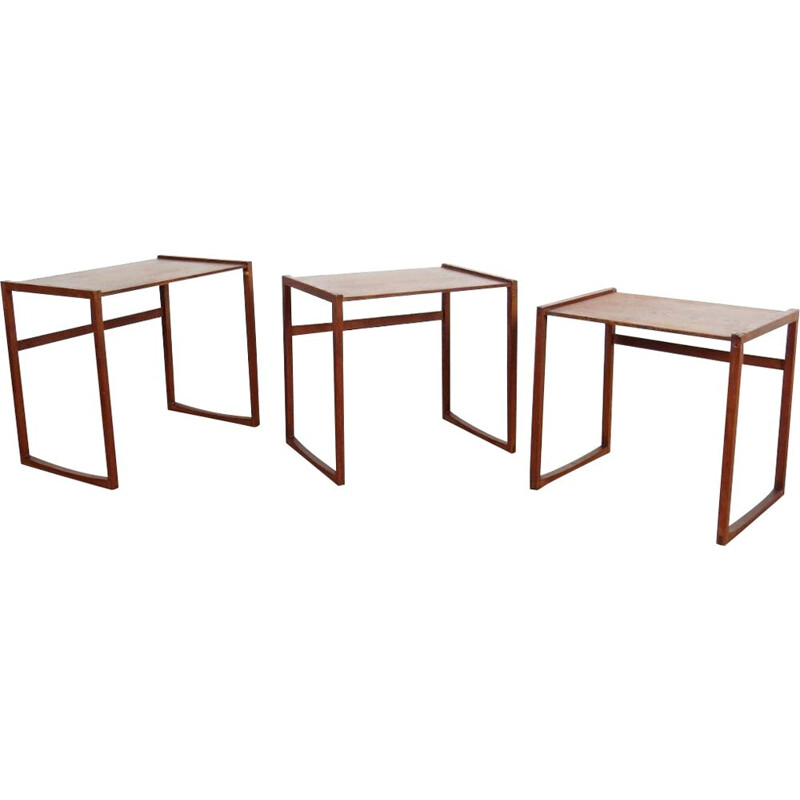 Vintage set of 3 tables gigogne, Czechoslovakia 1960