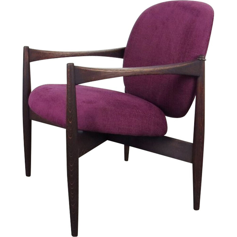 Vintage purple Armchair, Czechoslovakia 1960