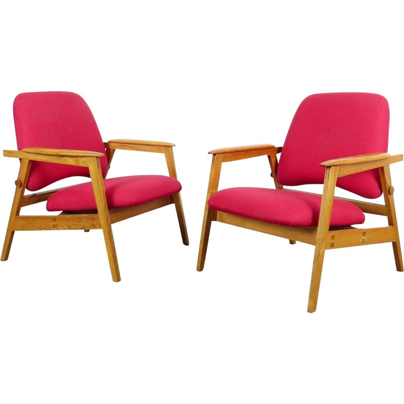 Vintage pair of red armchairs, Czechoslovakia 1960