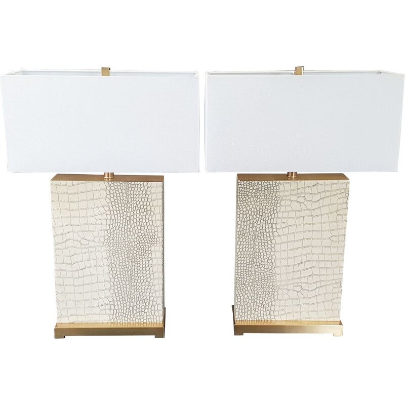Pair of vintage lamps imitation snakeskin 1970