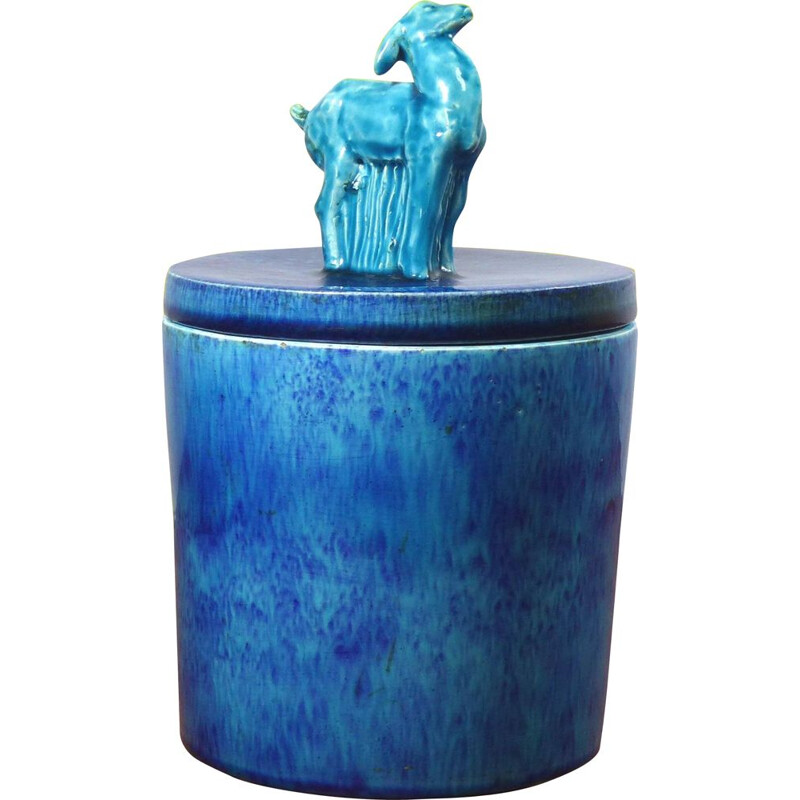 Vintage Art Deco pot in blue ceramic