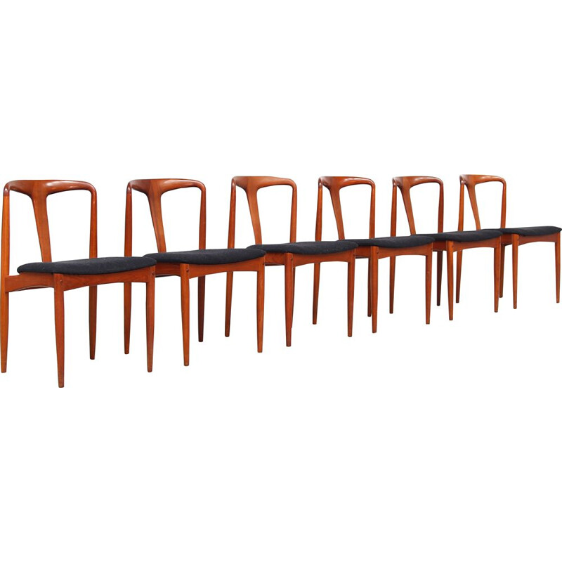 Set of 6 Vintage Danish Teak Dining Chairs by Johannes Andersen for Uldum Møbelfabrik, 1960s