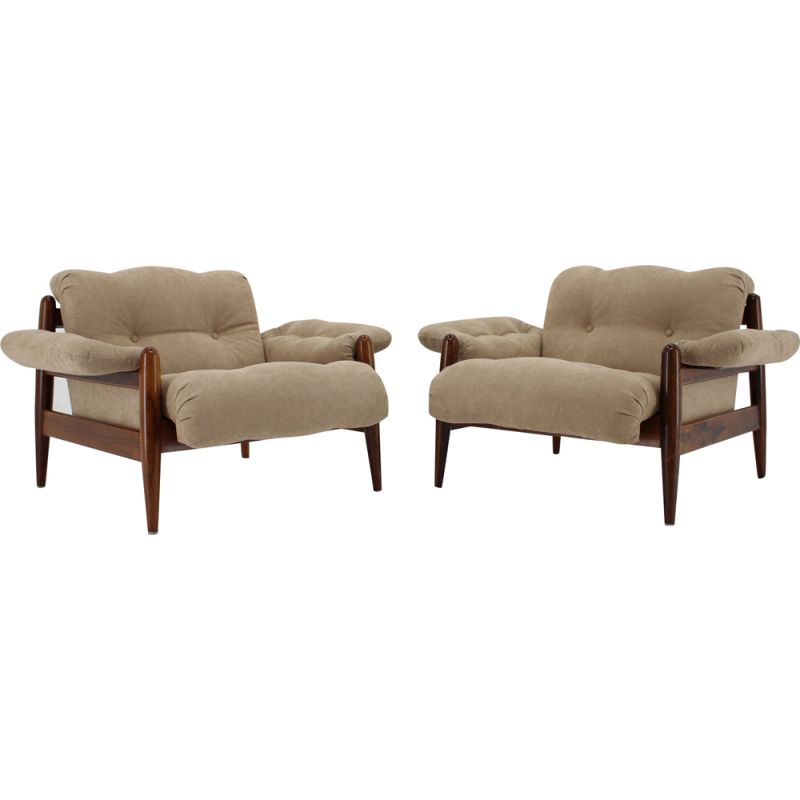 Set of 2 rosewood lounge chairs, 1960s