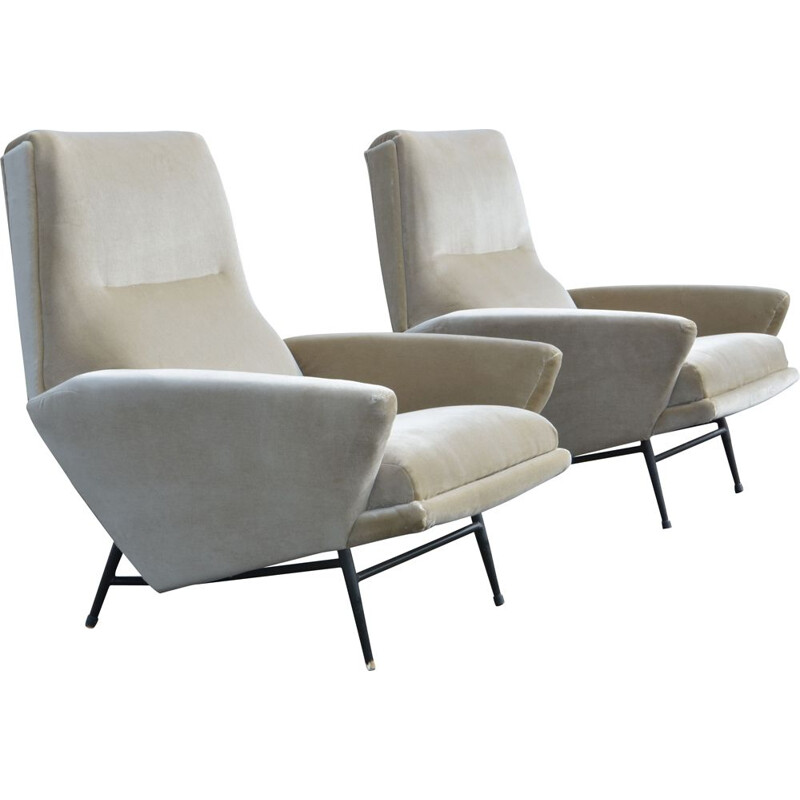 Pair of vintage armchairs by Guy Besnard in velvet