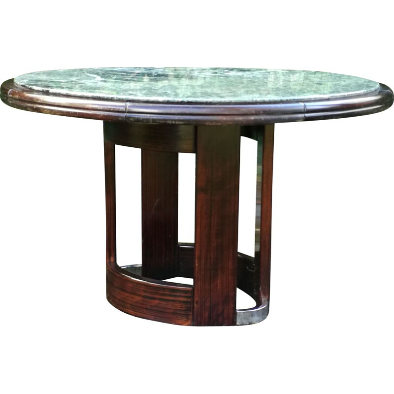 Vintage Green marble and wooden round table