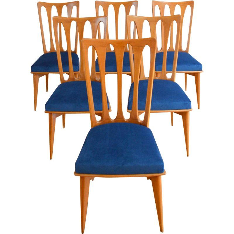 Suite of 6 vintage chairs Gaston Fish Art Deco, 1950s