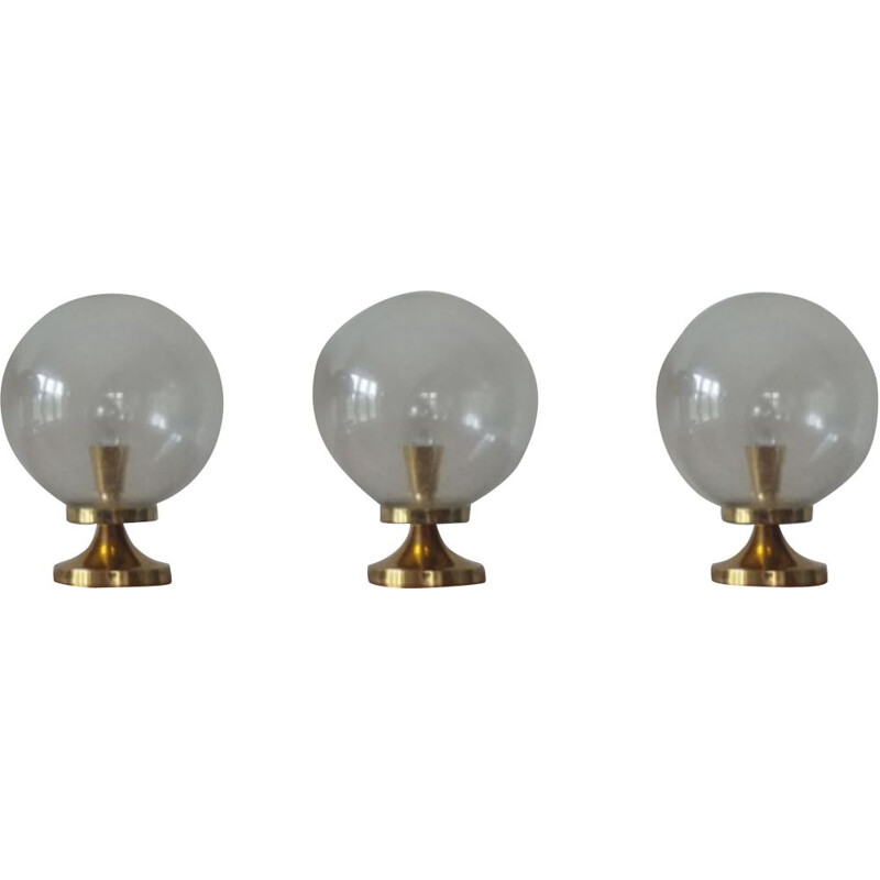Set of 3 Ceiling or Wall Lamps Kamenicky Senov, 1970s