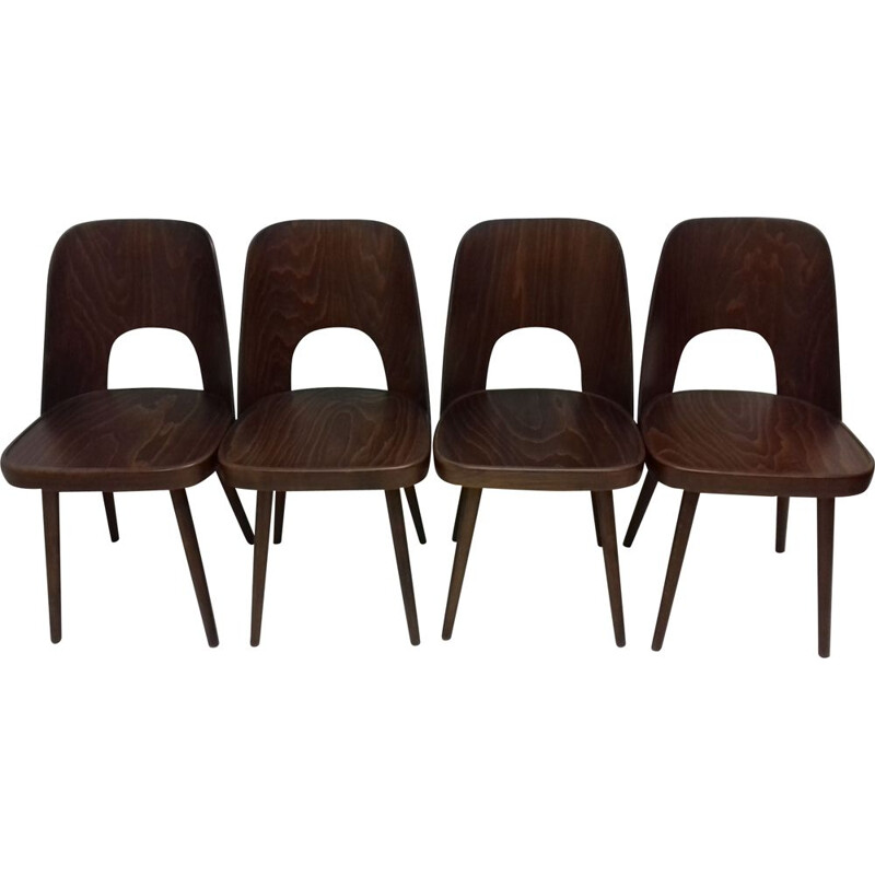 Set of 4 vintage wooden chairs by Oswald Haerdtl, 1950s
