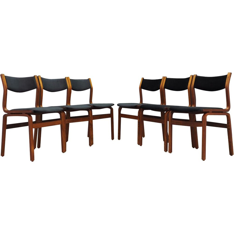Set of 6 vintage black velvet chairs, Denmark, 1960-70s