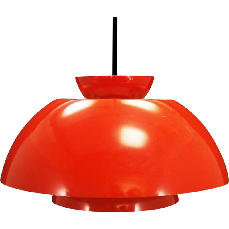 Vintage red steel pendant light, retro design, 1960-70s