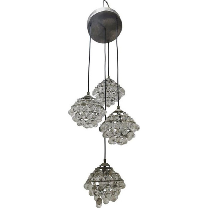 Vintage chandelier in steel and glass by Zero Quattro, Italy, 1950s