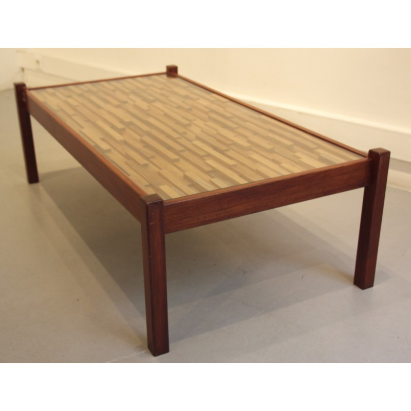 Vintage coffee table in teak and rosewood Percival LAFER 1960s