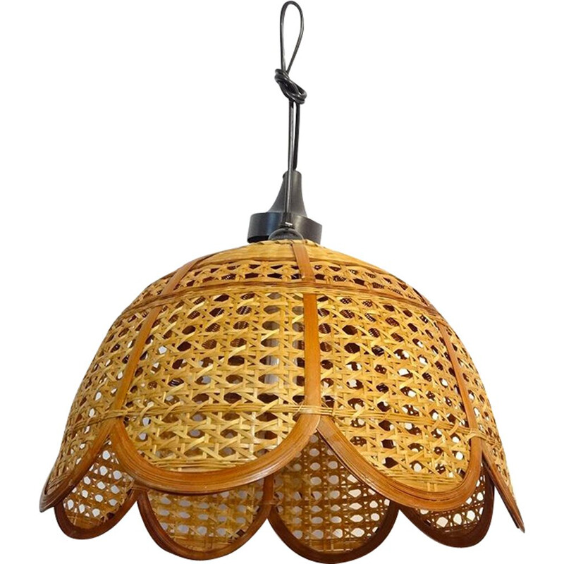Vintage wicker pendant light in the shape of a flower, 1970-80s