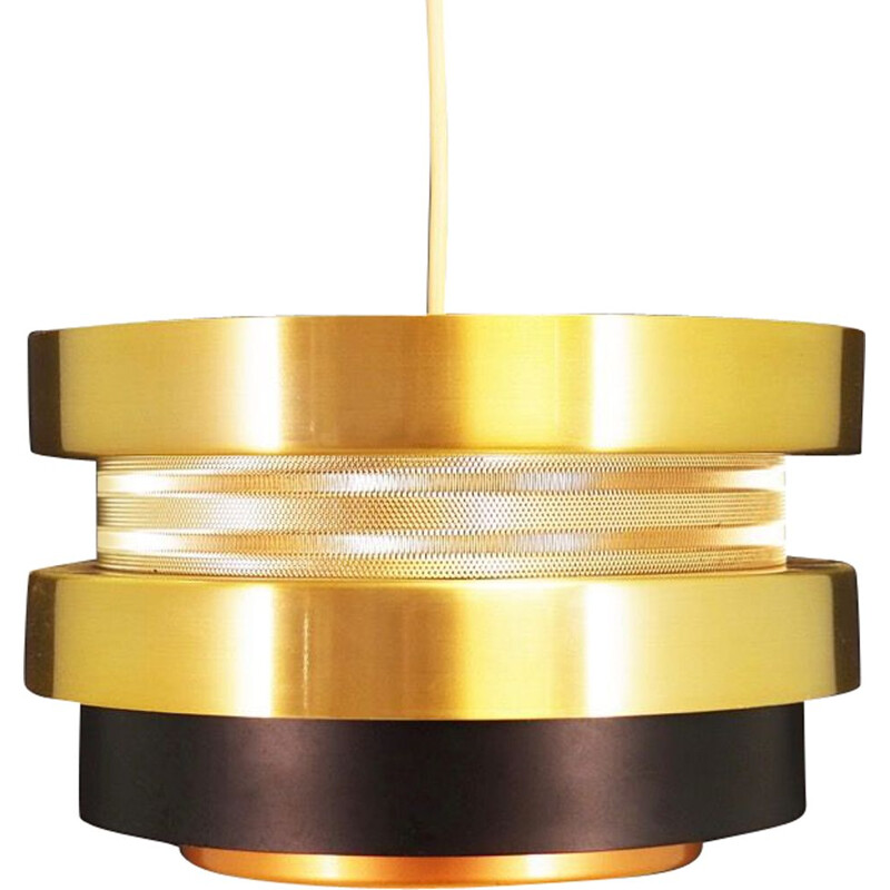 Vintage gold pendant light, Denmark, 1960-70s