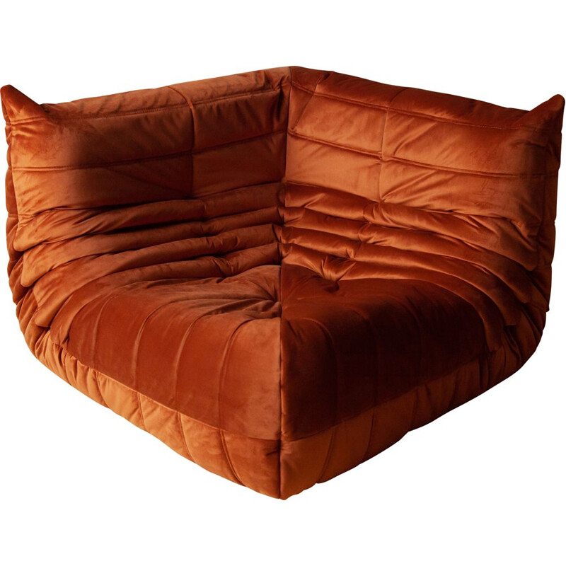 "Vintage corner sofa ""Togo"" in amber velvet by Michel Ducaroy for Ligne Roset, 1970s"