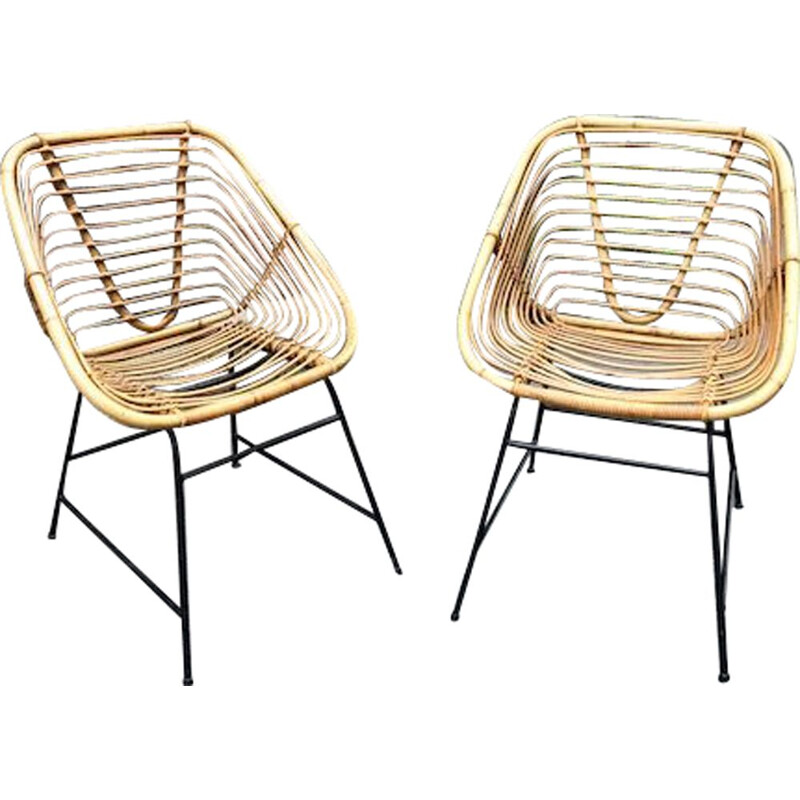 Set of 2 vintage rattan chairs, 1960s