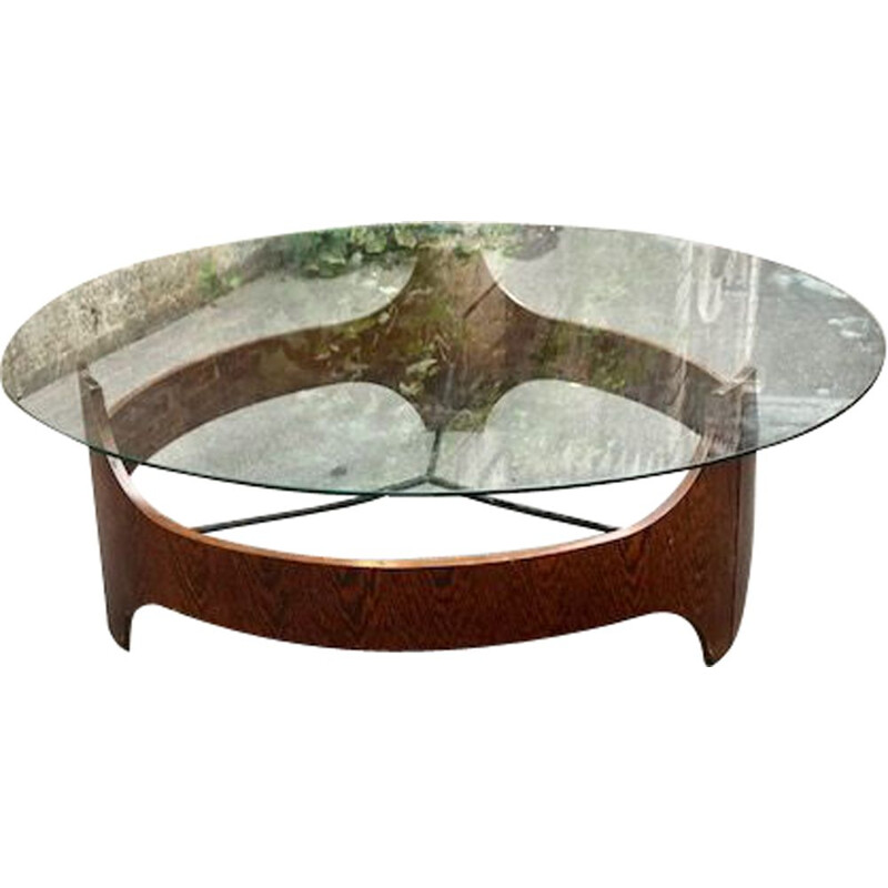 Vintage round coffee table in wengé and glass, Holland, 1970