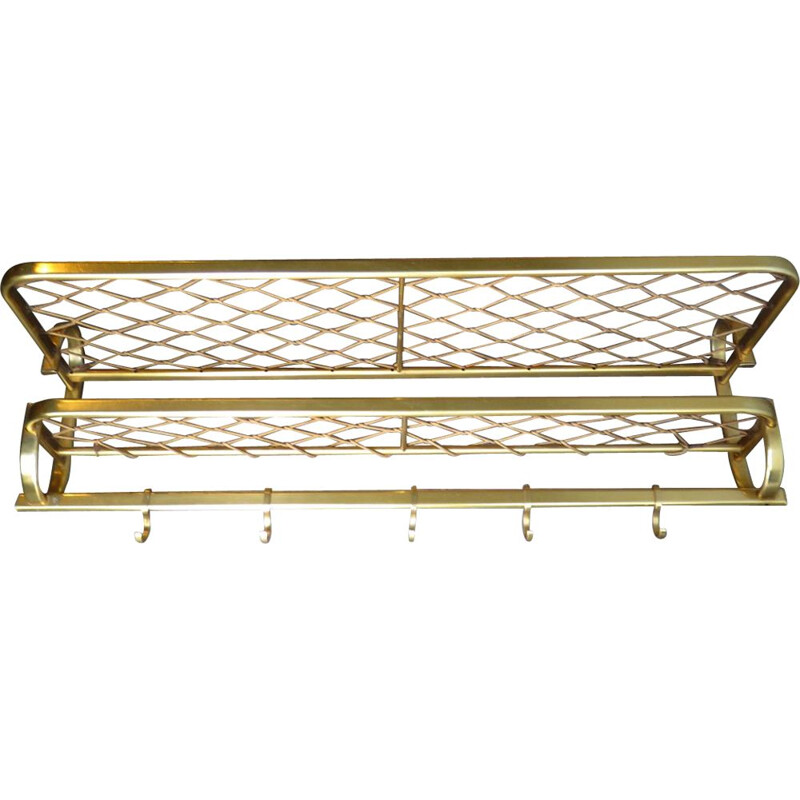 Vintage golden coat rack with string shelf 1960