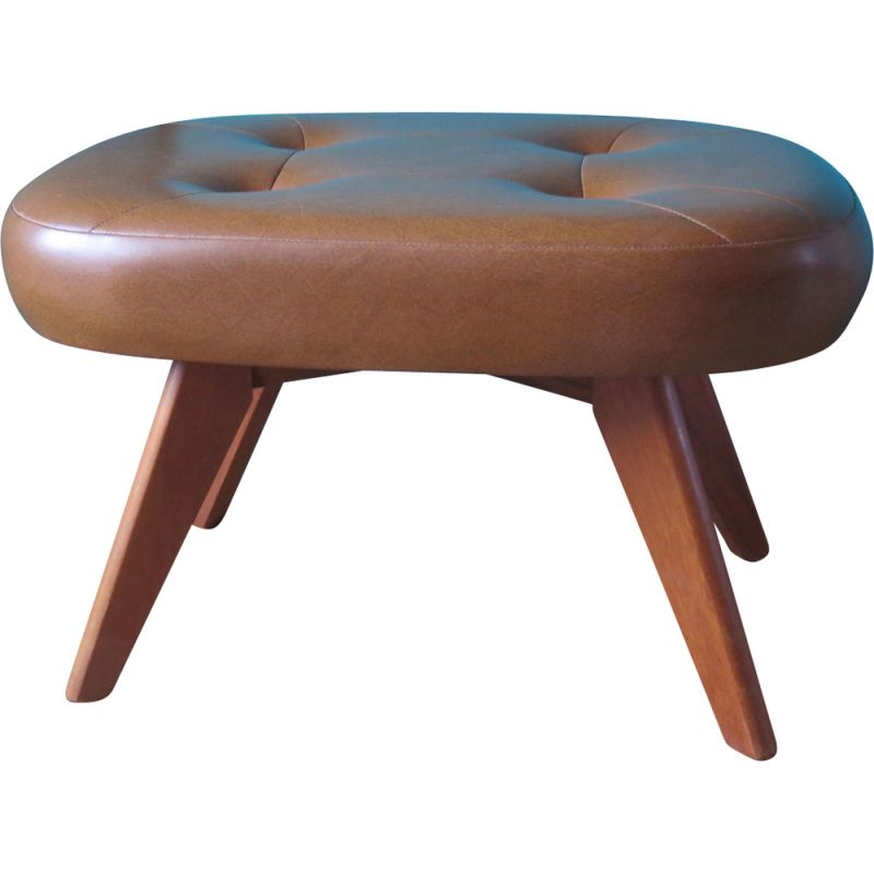 Vintage stool or footrest sets in skai, Denmark 1960