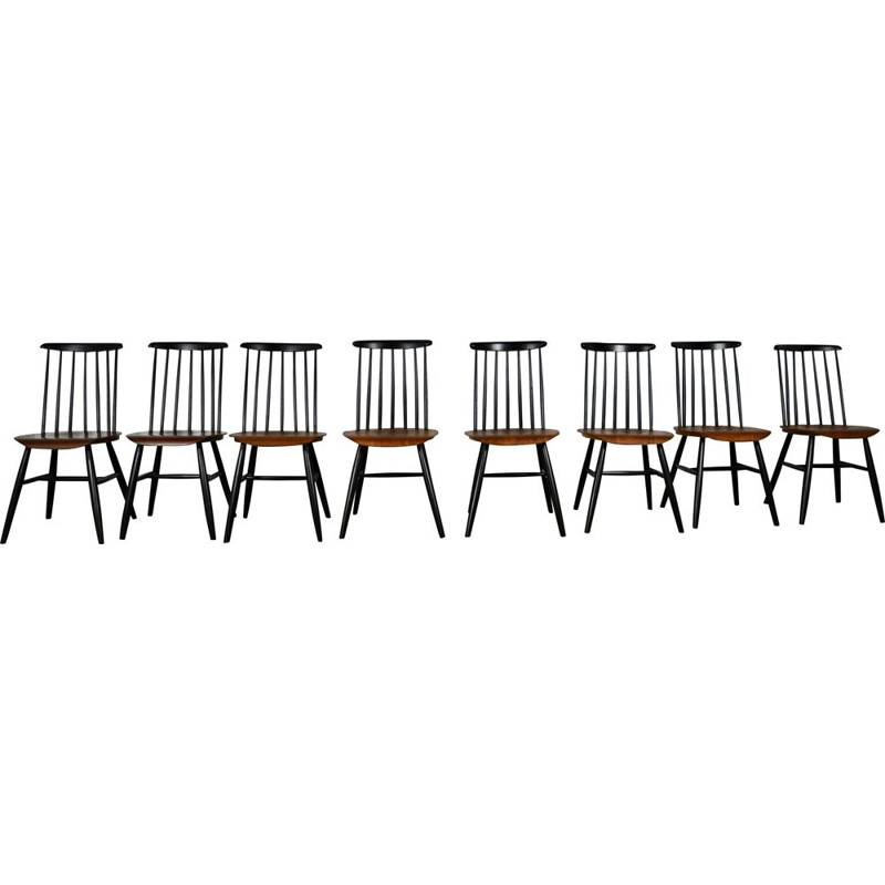 Vintage set of of 8 Scandinavian chairs in painted wood 1960