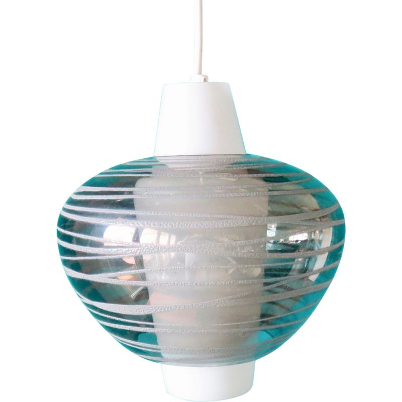 Vintage opaline hanging lamp, Italy 1955