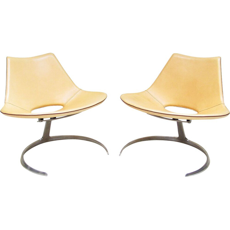 Pair of Danish Scimitar armchairs by Preben Fabricius & Jørgen Kastholm for Bo-Ex