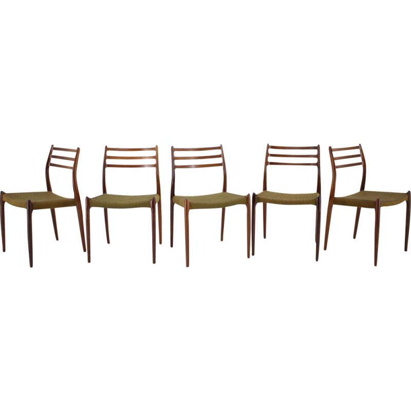 Vintage Set of 6 dining chairs in rosewood by Niels Otto Møller for, Model JL78, 1970s