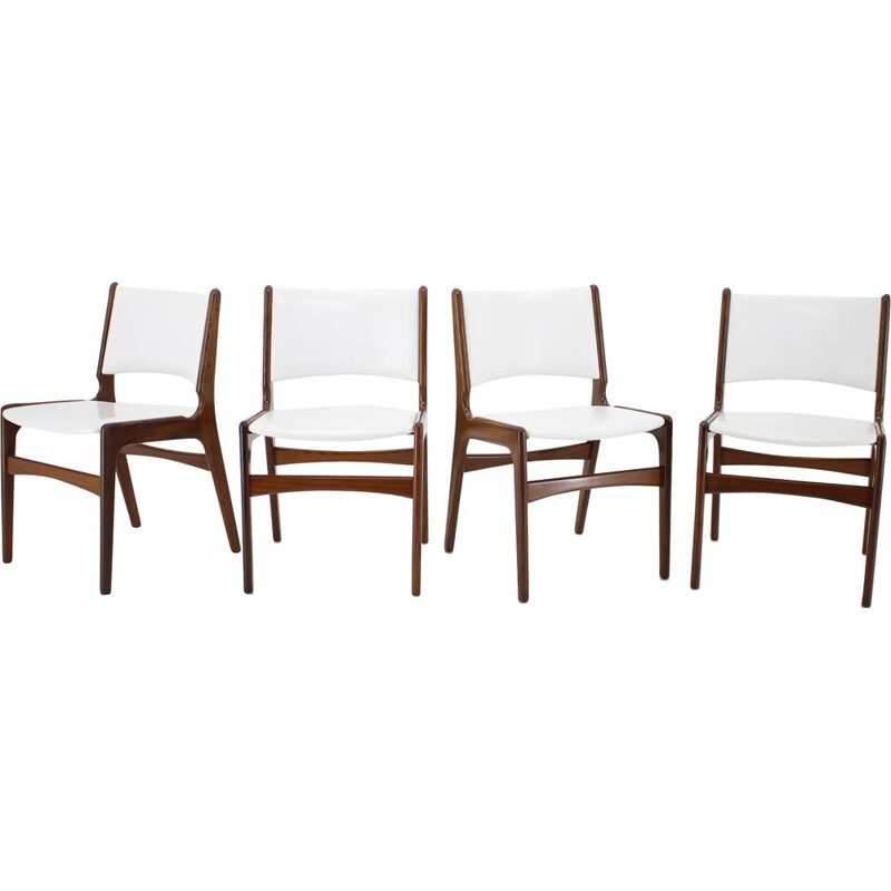 Vintage set of 4 teak Dining Chairs, Denmark 1960