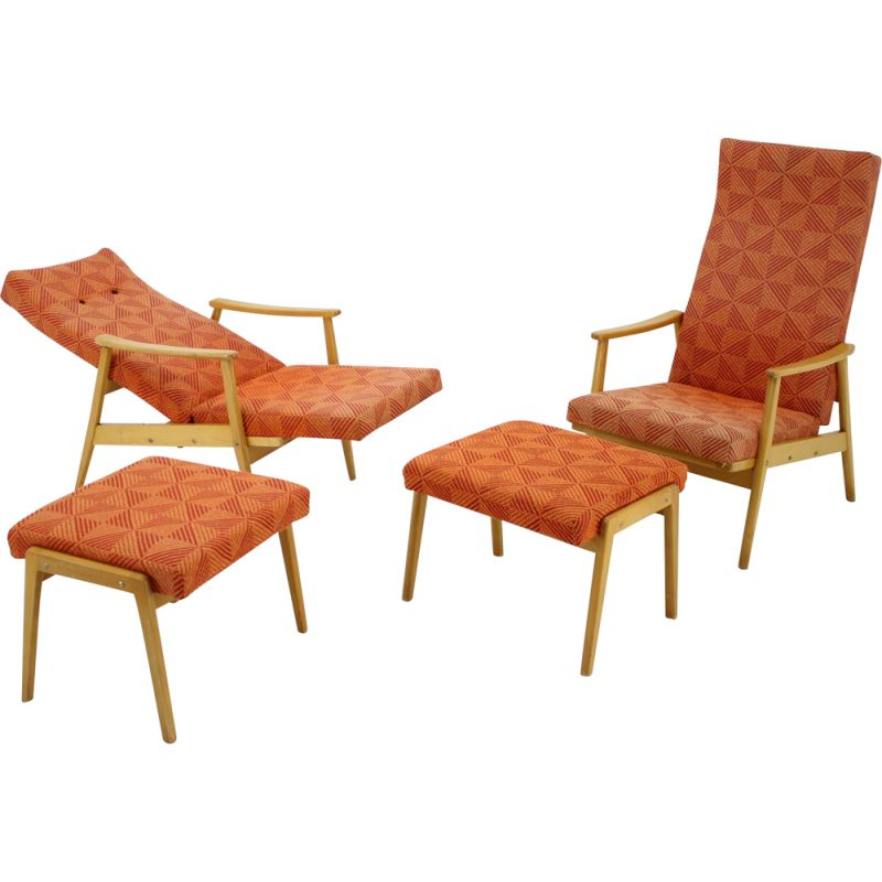 Vintage pair of adjustable armchairs with footstools by Thon, 1970.
