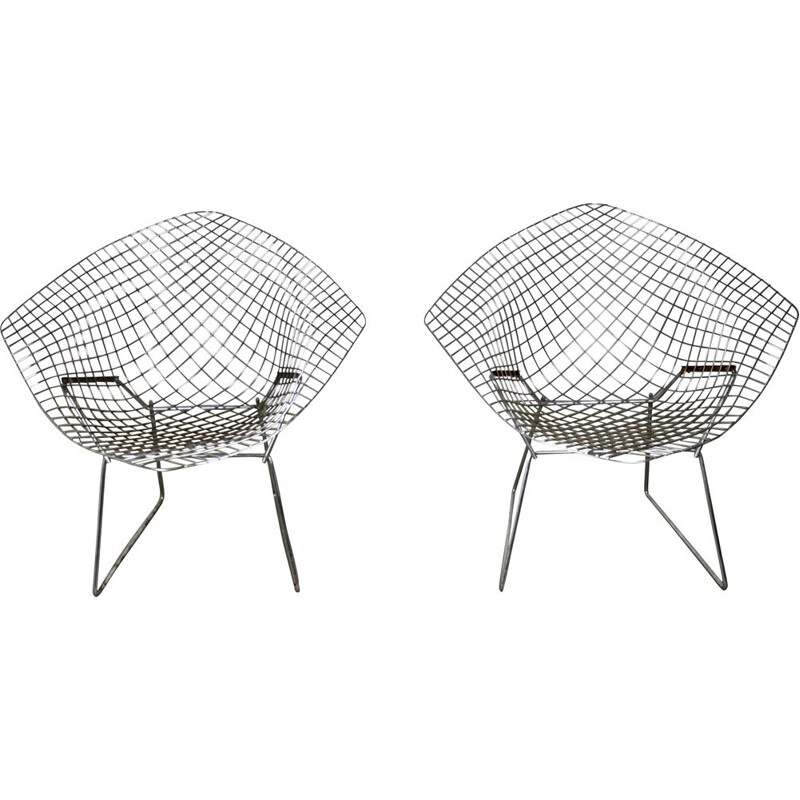 Set of 2 vintage diamond armchairs by Harry Bertoia for Knoll 1970s