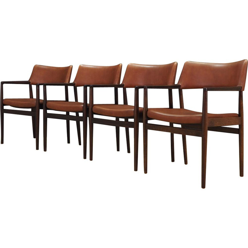 Vintage set of 4 leather and oak armchairs, Denmark, 1960-70s