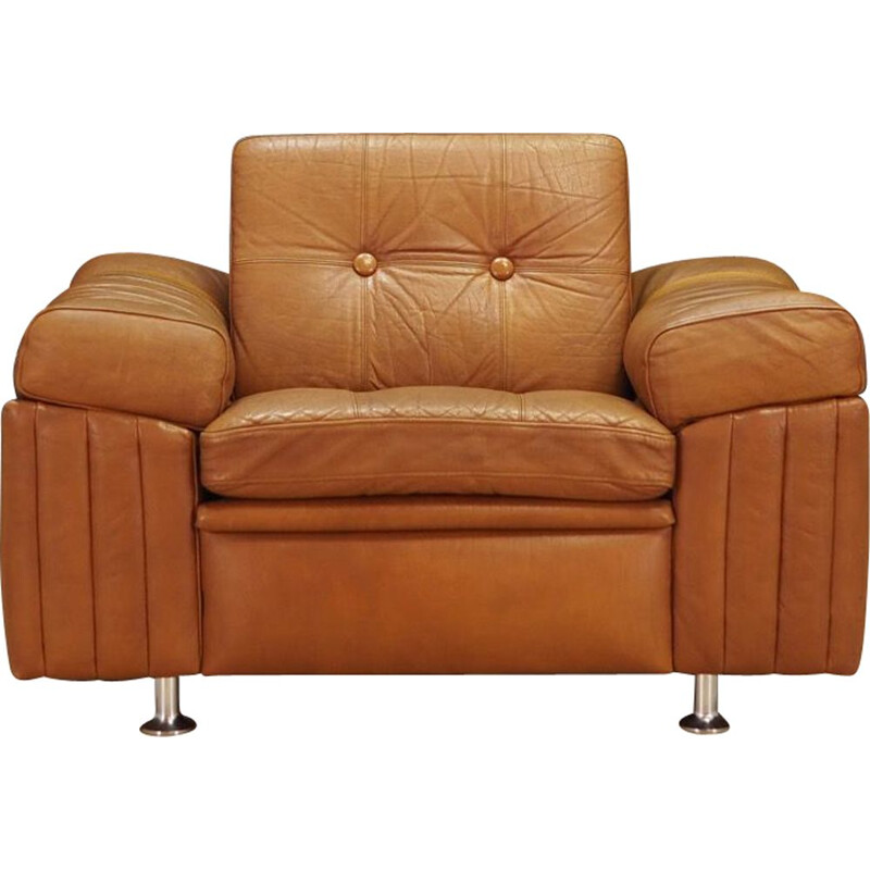 Vintage brown leather armchair by Svend Skipper, 1960-70s