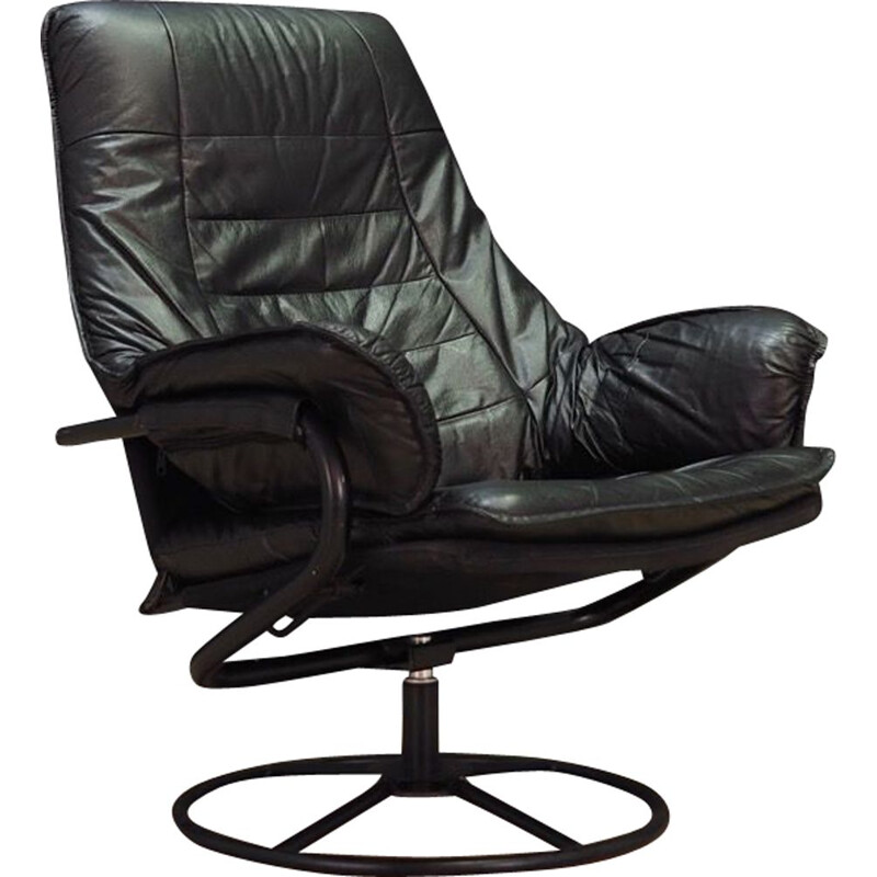 Vintage black leather armchair, Denmark, 1960-70s