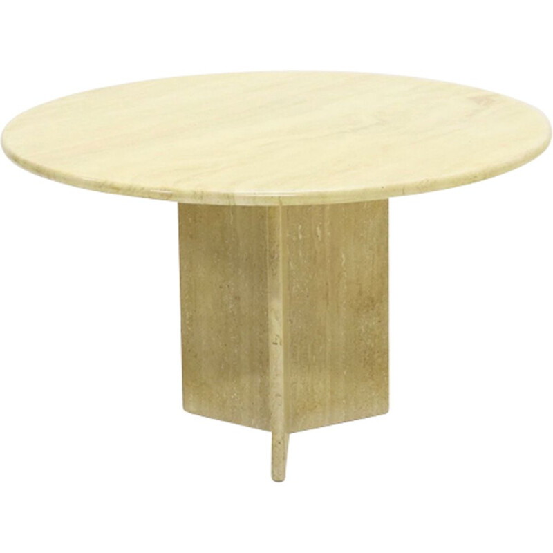 Vintage round travertine dining table by Up&up, 1970s