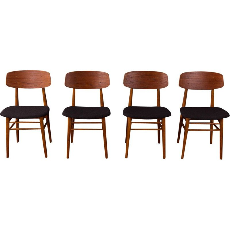 Set of 4 vintage dining chairs in teak and fabric, Germany, 1960s