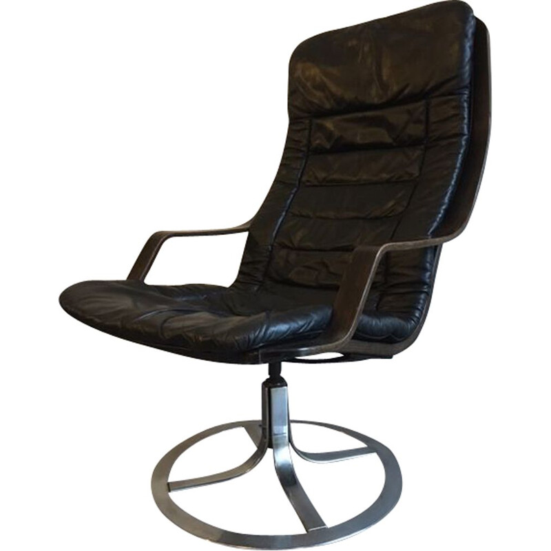 Vintage T213 swivel chair by Göte Möbler, 1970s