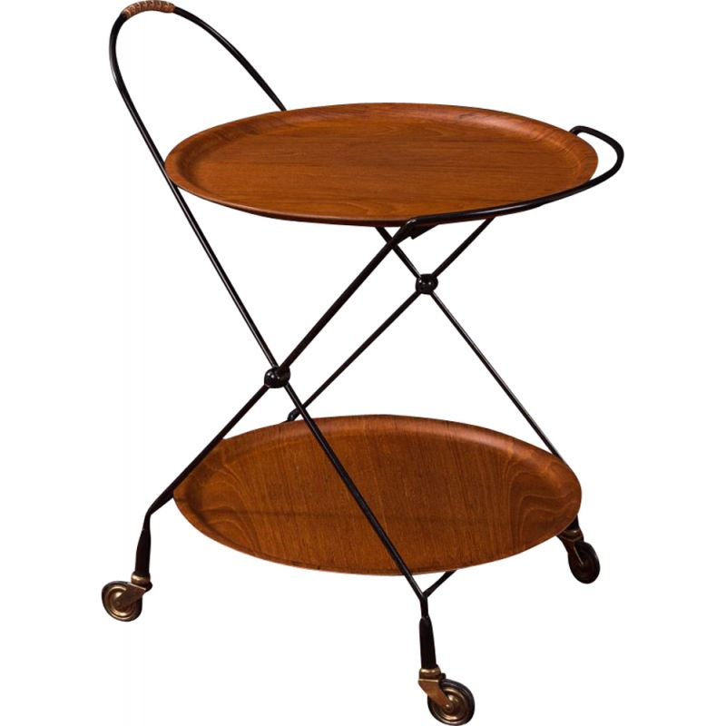 Vintage serving trolley by Ary Fanérprodukter Nybro, 1950s