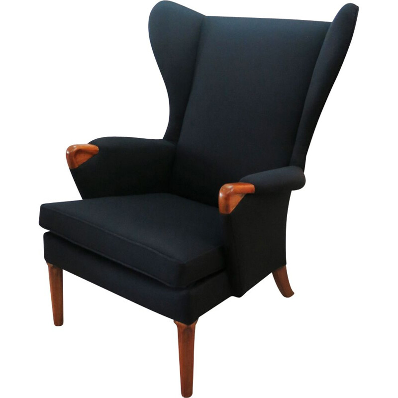 Vintage black wingback chair with teak legs from Parker Knoll, 1960