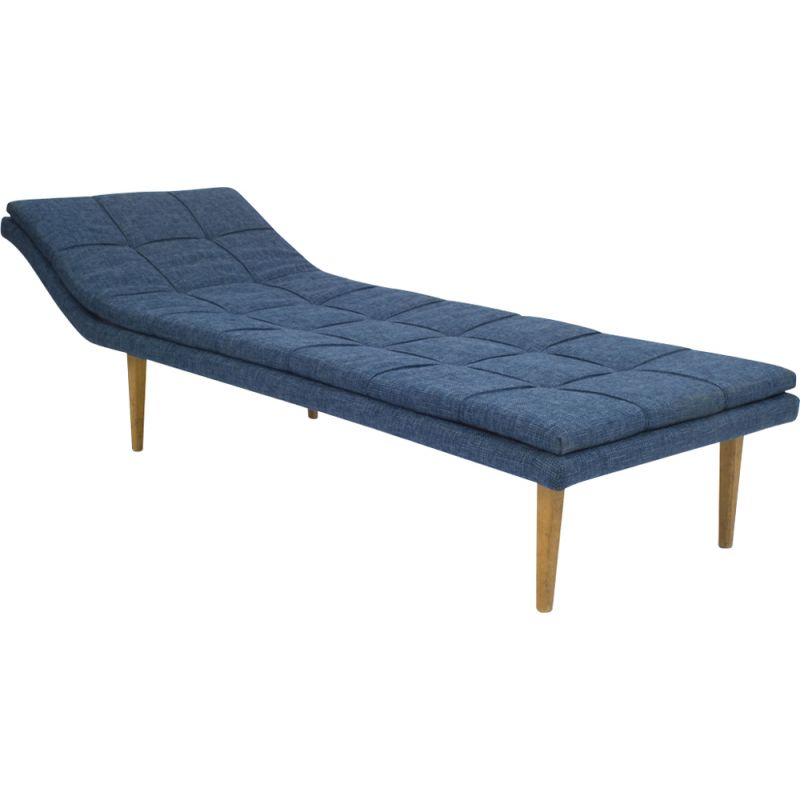 Vintage daybed in wooden constuction and refurbished in blue fabric 1960