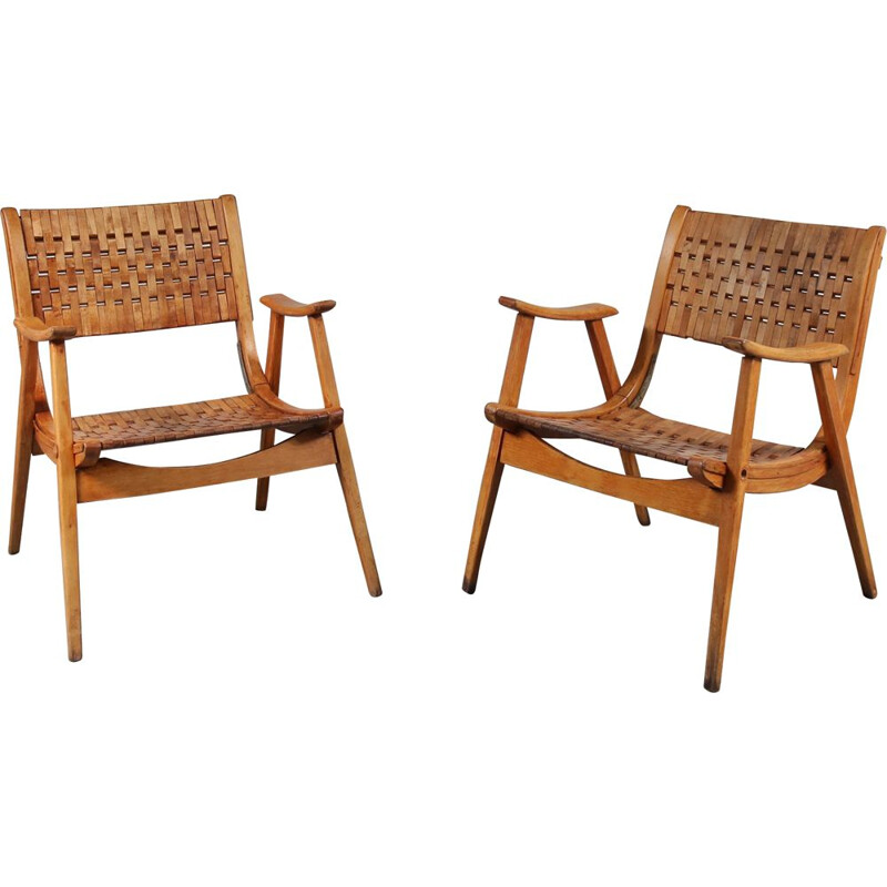 Pair of vintage lounge chairs by Erich Dieckmann for Gelanka Tyskland, Germany 1930