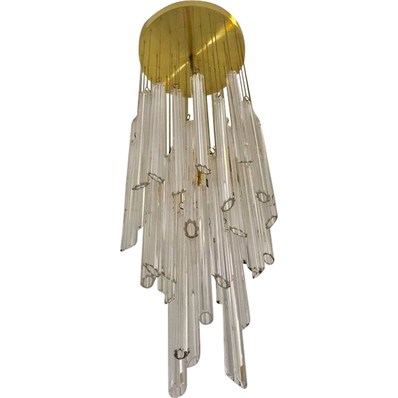 Vintage waterfall suspension in murano glass by tronchi murano 1970