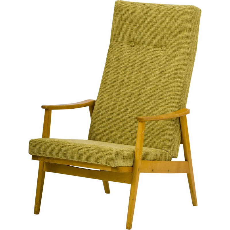 Vintage yellow upholstered armchair TON 1960