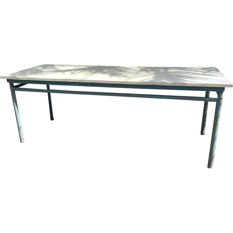 Vintage farm refectory table 10 covered metal and formica 1960