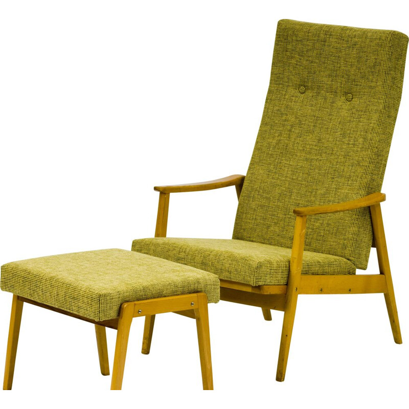 Vintage yellow Armchair with stool by Ton