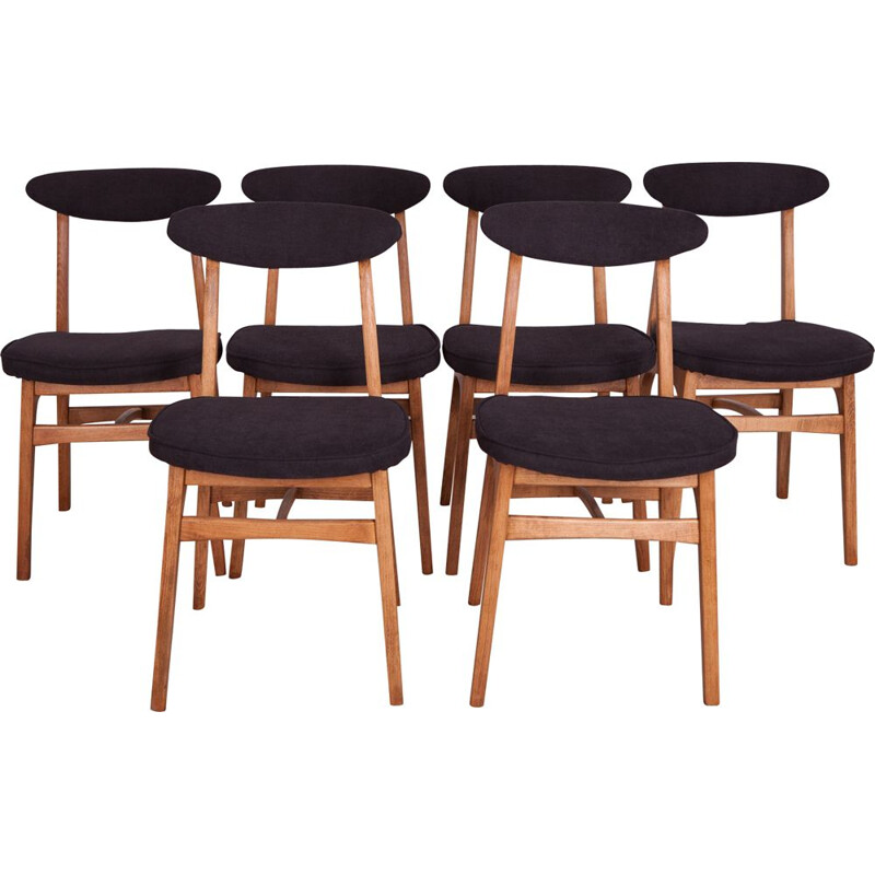 Set of 6 Beech and Fabric 200-190 Dining Chairs by Rajmund Teofil Hałas, 1960s