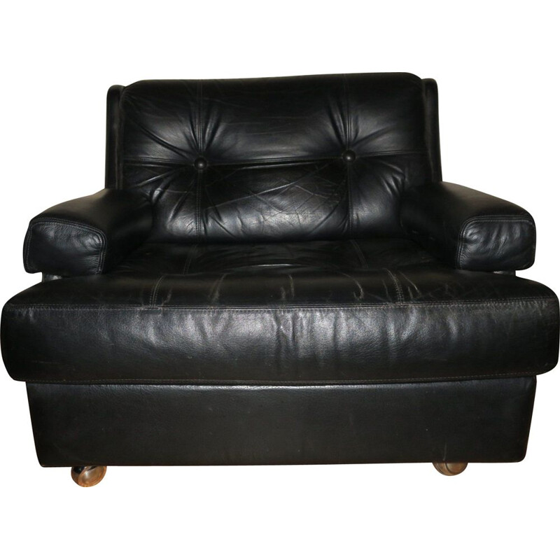 Vintage black leather armchair from Dux, Sweden, 1960s